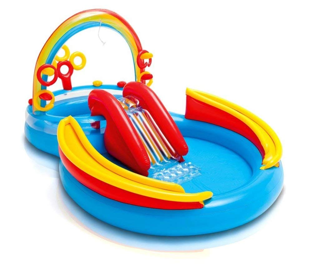 DSFGHE Rainbow Ring Play Centre,Inflatable Float Swim Boat ,Paddling Pool with Moveable Arch Water Spray.Activity Centre for Outdoor Summer Fun!