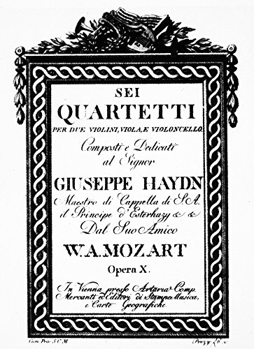 (Mozart String Quartets Ntitle Page Of Wolfgang Amadeus MozartS Six String Quartets Dedicated To Joseph Haydn And Composed Between 1782 And 1785 Poster Print by (24 x 36))