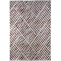 C.R.L. Elegant Textured Area Rug. Cut & Loop Pile, Water Repellent 28 x 5 (32 x 60) Candi Multicolored Cream