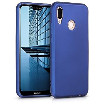 kwmobile Funda para Huawei P20 Lite - Carcasa para móvil en [TPU Silicona] - Protector [Trasero] en [Azul Metalizado]