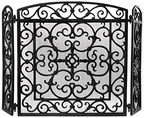 Scroll Design Fireplace Screen (Esschert Design FF27B Cast Iron Fireplace Screen)