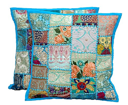 (Elegant Designs 2pc Embroidered Sari Patchwork Cushion Cover, 17x17 Indian Ethnic Pillow Covers, Turquoise Handmade Patchwork Cushion Pillow, Sari Patch Throw Pillow)
