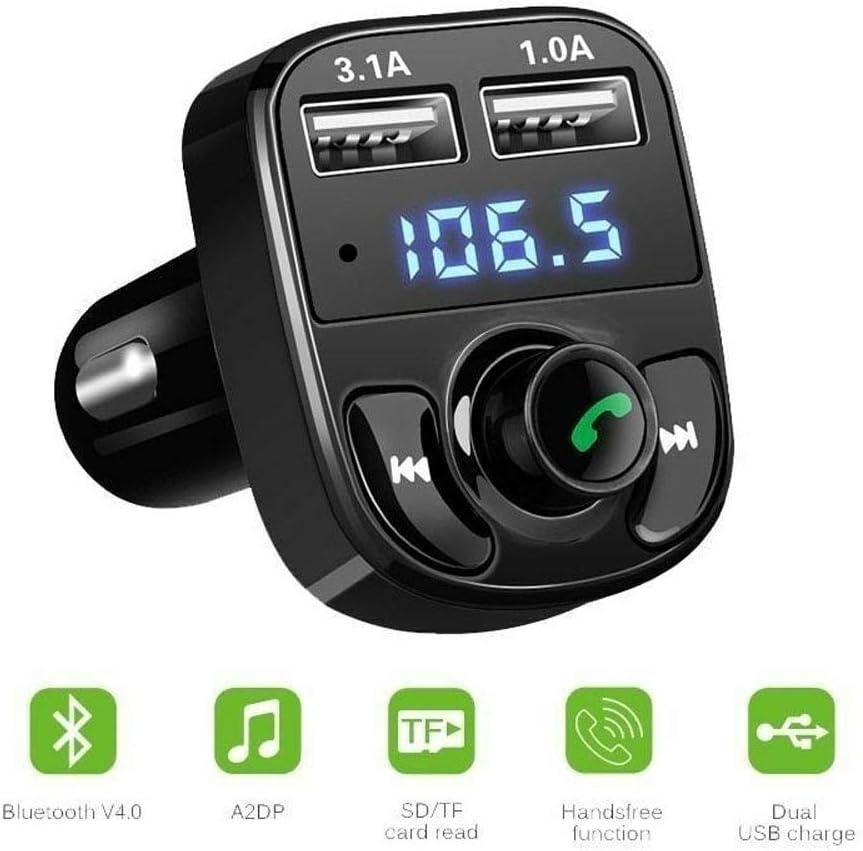 Turbobm Cargador de Coche, Cargador de Coche USB, Kit de Coche Manos Libres inalámbrico Bluetooth para vehículo Transmisor FM Reproductor de música MP3 Adaptador de Cargador USB Dual