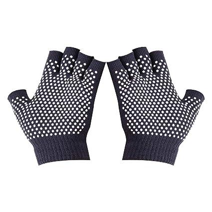 Amazon.com : VORCOOL Non Slip Yoga Gloves Half Finger Cotton ...
