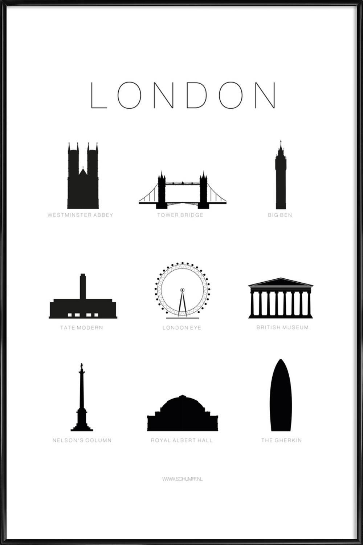 Affiche des lieux mythiques de Londres en noir et blanc