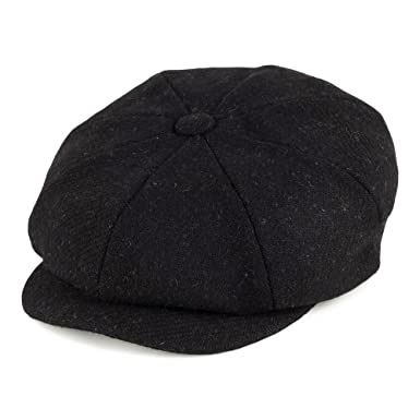 Failsworth Hats Carloway Harris Tweed Newsboy Cap - Black 61  Amazon ... 200d9c04b7d