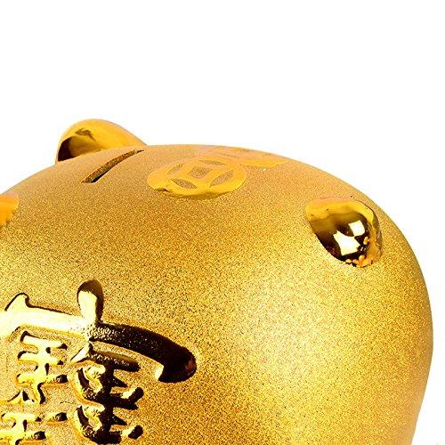 Piggy Bank Ceramic Gold Pig Ornaments Cute Children Gift Size : L