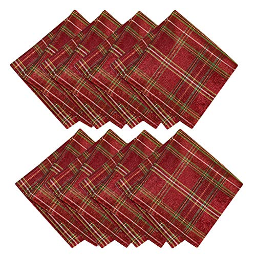 Newbridge Shimmering Plaid Metallic Christmas Plaid Fabric Napkin Set, Glitter Xmas Weave Holiday Cloth Napkins, Set of 8 Fabric Napkins