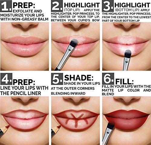 Aesthetica Matte Lip Contour Kit - Lipstick Palette Set Includes 6 Lip Colors, 4 Lip Liners, Lip Brush and Instructions
