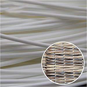 Wuweihome 32.8 ft(10m) Synthetic Circle Rattan Polyethylene Plastic Round Rattan Woven for Handmade Repair Fix Wicker Chair Knit, Rattan Table Wicker Furniture, Basket Weaving, DIY Crafts, White