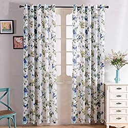 """Top Finel Voile Peony Curtain Panels for Kids Room Semi Sheer Drapes for Office, 54"""" W x 84"""" L, Set of 2, Blue Flower"""