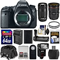 Canon EOS 6D Digital SLR Camera Body with 24-70mm f/2.8 L II & 70-300mm IS II Lenses + 64GB Card + Case + Flash + Grip + Battery & Charger Kit