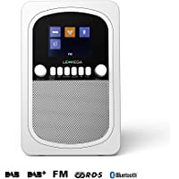 LEMEGA M1 Portable Digital Radio Rechargeable Battery And Wireless Speaker With DAB, DAB+, FM Radio, Bluetooth, Clocks, And Alarms - Soft White Satin