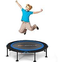 COSTWAY 120cm Opvouwbare trampoline, fitness trampoline opstuiter met veiligheids doppen en duurzame bungee koorden…
