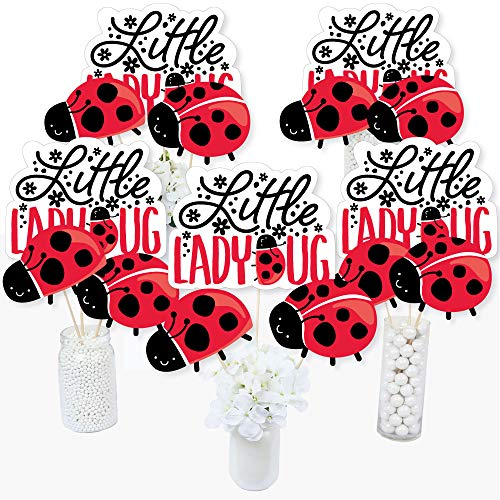 Ladybug Baby Shower Theme (Happy Little Ladybug - Baby Shower or Birthday Party Centerpiece Sticks - Table Toppers - Set of)