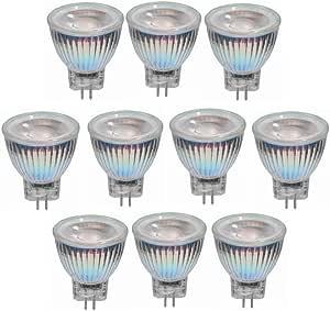 NANGE Bombilla LED MR11 De 3W, CA/CC 12V-24V, Bombillas Reflectoras LED COB GU4, Base GU4 Equivalente A 25W - para El Hogar, Empotrado, Acento, Riel, Paquete De 10 (Color : Blanco cálido)