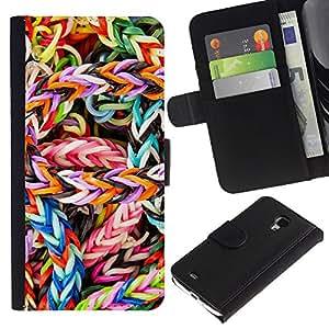 """JackGot ( Caramelo colorido"""" ) Samsung Galaxy S4 Mini i9190 (NOT S4) la tarjeta de Crédito Slots PU Funda de cuero Monedero caso cubierta de piel"""