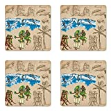 Lunarable Vintage Hawaii Coaster Set of Four, Hand Drawn Tiki Dancers Surfing Sharks Turtles Tropic Inspirations Retro, Square Hardboard Gloss Coasters for Drinks, Tan Blue Green