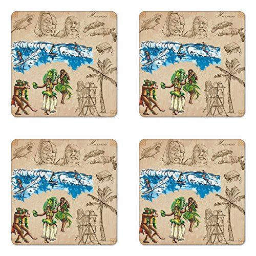 Lunarable Vintage Hawaii Coaster Set of Four, Hand Drawn Tiki Dancers Surfing Sharks Turtles Tropic Inspirations Retro, Square Hardboard Gloss Coasters for Drinks, Tan Blue Green by Lunarable