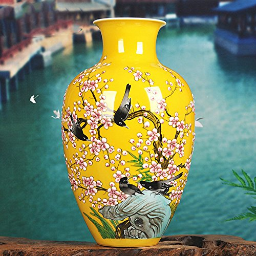 "Chinese Porcelain Vase Flower Home Office Decor Hand Made and Hand Painted Porcelain with Floral Pattern (16""x9.5"")"