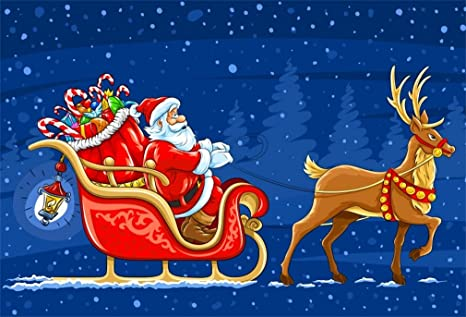 Sfondi Natalizi Renne.Yongfoto 1 5x1m Vinile Sfondo Fotografico Natale Babbo Natale Regali