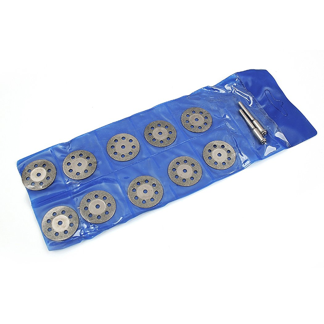 10 Pieces Cutting Discs with 2 Mandrel Sharp Diamond Mandrel Dremel Tools for Cutting Gemstones Glass and More KRW LTD