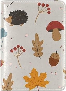 Hedgehog Grasses Leaves Autumn Spines Leather Passport Holder ...