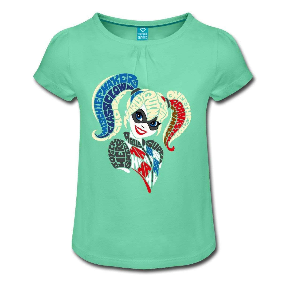 Spreadshirt DC Super Hero Girls Harley Quinn Typographie T-Shirt /à Fronces Fille
