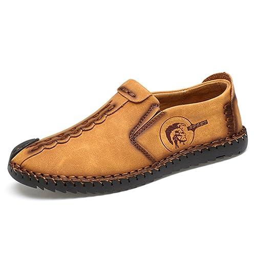 Hombres Casual Zapatos clásicos cómodos Mocasines Split Zapatos de Cuero Hombres Pisos: Amazon.es: Zapatos y complementos