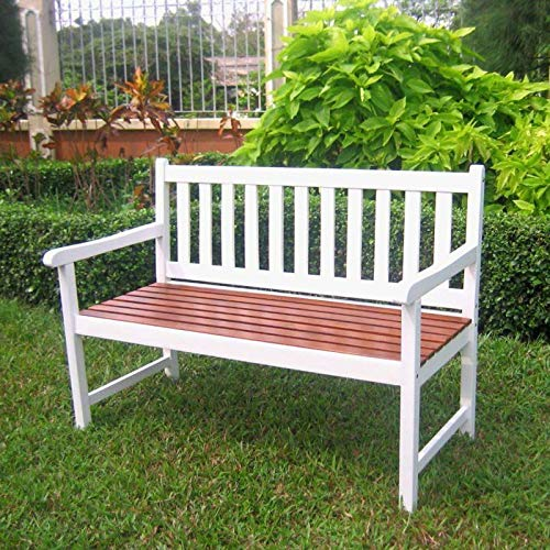 4' Acacia Bench - Swag Pads Outdoor Weather Resistant Acacia Wood 4-Ft Patio Garden Bench in White Oak Finish