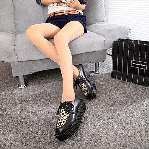 Basket Punk Gothique 35 Cuir Femme Léopard Derby Décontractées 41 Chaussures à Forme wealsex Semelle Epais Chaussure Creepers Lacet Plate Plate vz6wq4Bx