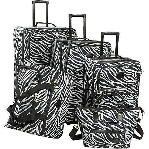 - American Flyer Luggage Animal Print 5 Piece Set, Zebra Black, One Size