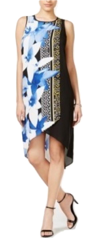 Bar III 9933 Size XXLarge Womens Black bluee Printed Shift Dress HighLow
