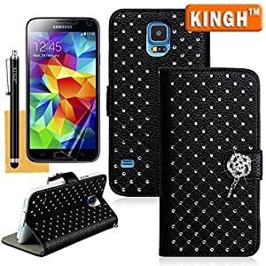 Starry Galaxy S5 Case,I9600 Wallet Case,KINGH(TM)Premium Quality PU Leather Stand Wallet Case Cover with Credit Cards Holders Fit for Samsung Galaxy S5 I9600,with Screen Protector,Cleaning Cloth and Touch Stylus(Black)