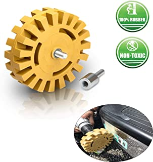 Hangyuan Removing Car Decal Removal Rubber Eraser Wheel 4 inch with Drill Adapter Adhesive Vinyl Decal GraphicsPinstripe Remover from Cars, Rvs, Boats and More