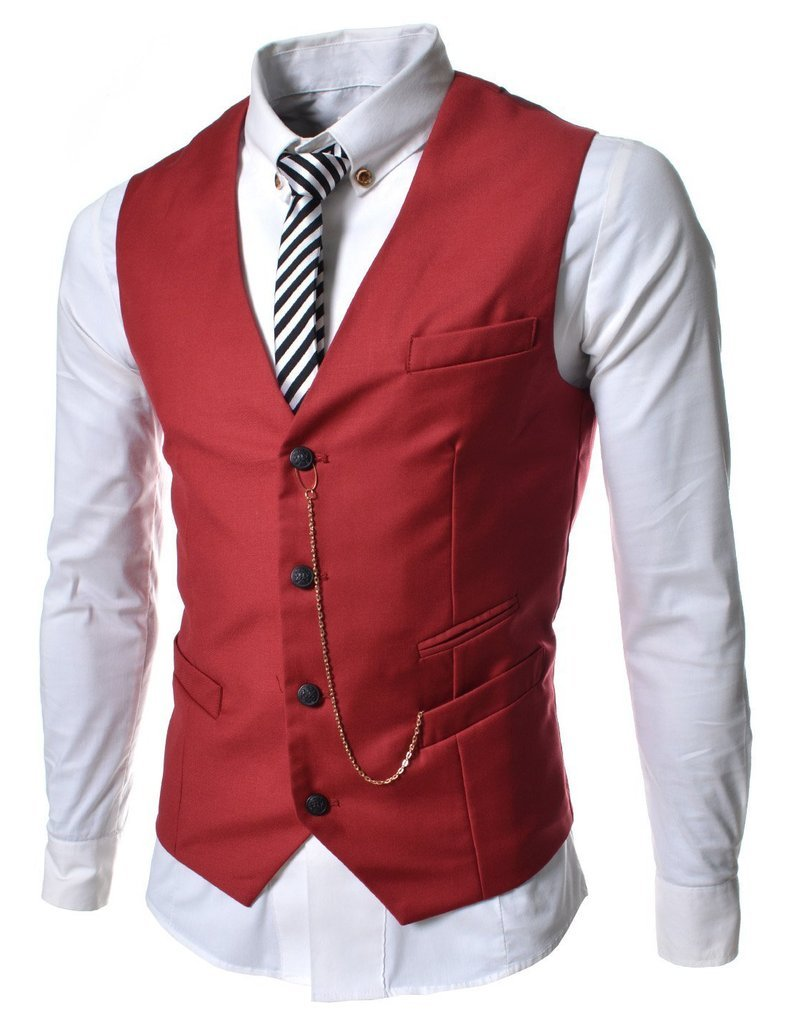 Angcoco Men's Sleeveless Chain Point Casual Slim Fit Blazer Suit Vest Waistcoat