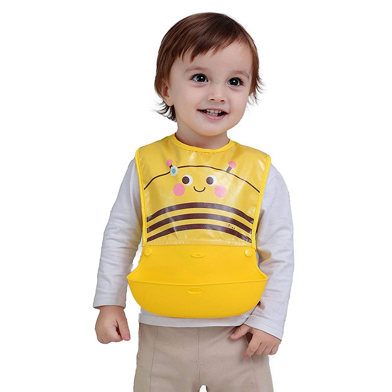 Silicone Baby Bib, Waterproof-Adjustable Correction Strap for Babies & Toddlers (6-72 Months), Easy Clean, BPA-Free, Lightweight Travel Bibs with Large Food Catcher Pocket for Girls and Boys (Yellow)