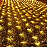 SUNYANG 10x6.5ft 320 LEDs Net Fairy Lights with Tail Plug 8 Modes Tree-wrap String Lights Net Lights for Indoor Party Christmas Xmas Wedding and Home Garden Decorations (Warm)