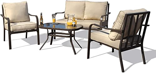 Kozyard Sonrisa Patio 4 PCs Padded Conversation Sets with Coffee Table Beige