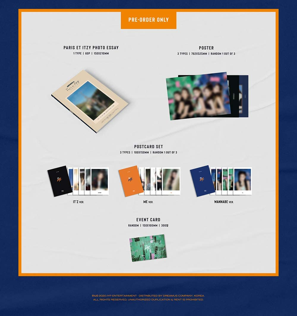 ITZ ME Album+Pre-Order Benefit+Folded Poster+Extra Photocards Set JYP Ent ITZY B ver.