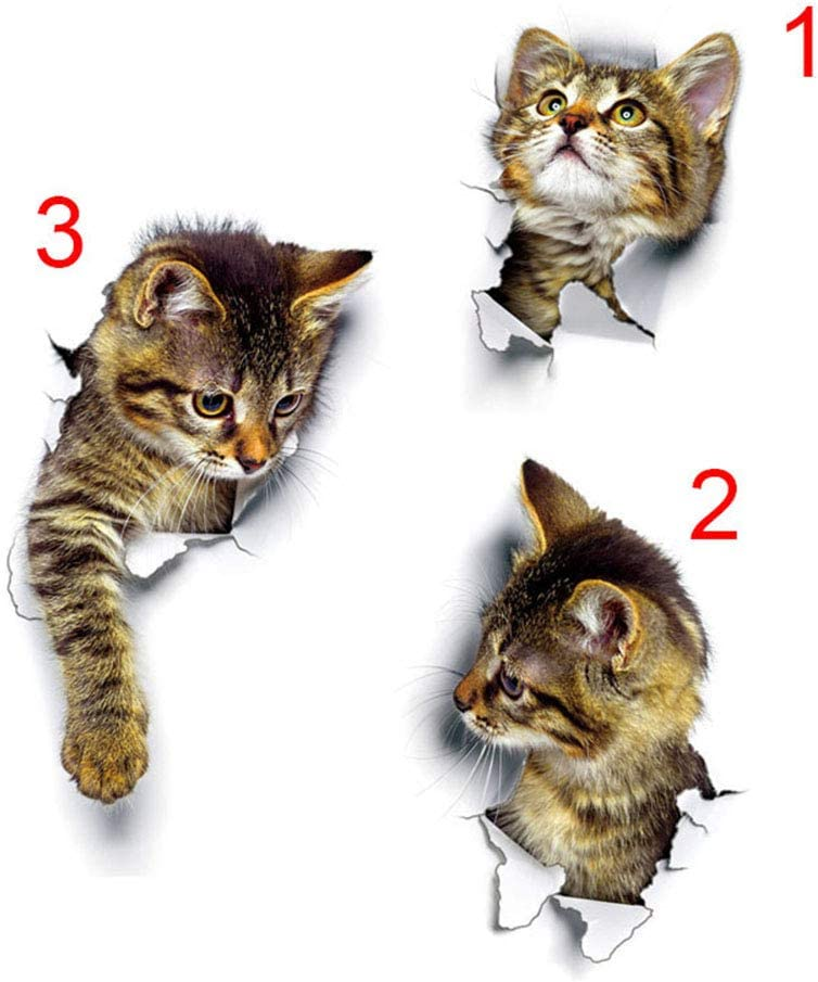 3Pcs 3D Cats Wall Stickers Self Adhesive, Kids Wall Decals/Removable Vinyl Art Murals for Living Room Baby Rooms Bedroom Toilet House DIY Decoration