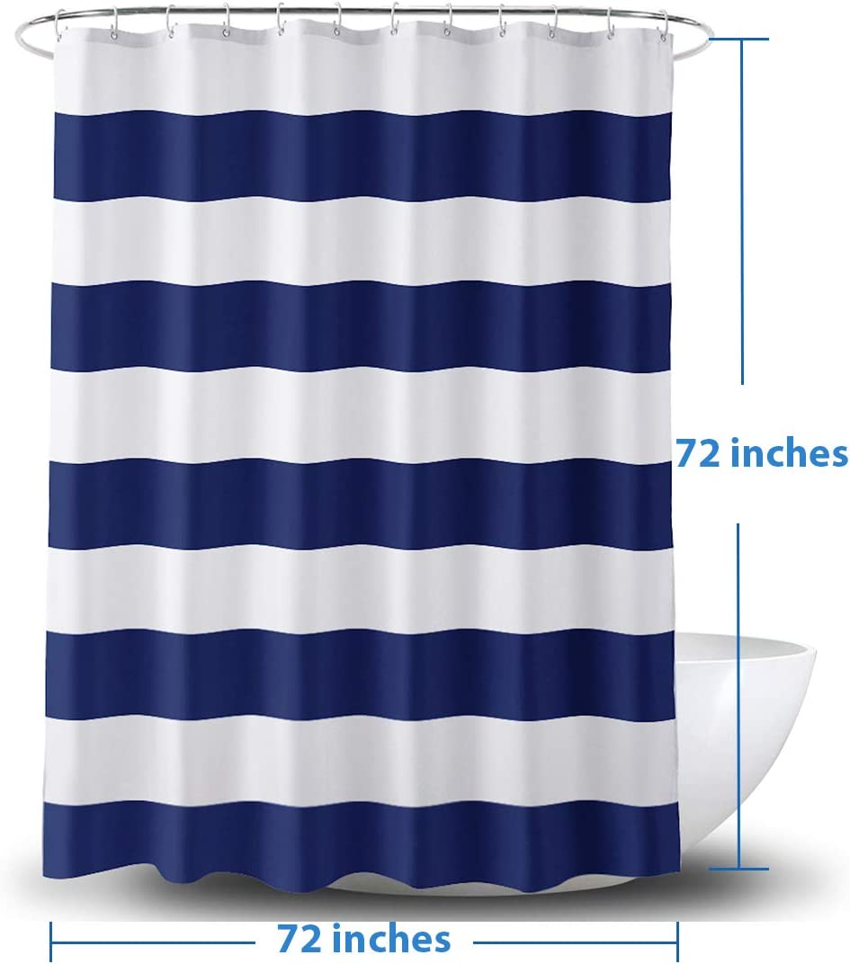AmazerBath Fabric Shower Curtain, Navy Stripe Polyester Fabric Shower Curtains with 2 Heavy Duty Clear Stones, Decorative Curtains for Bathroom Hotel Quality, 72 X 72 Inches: Kitchen & Dining