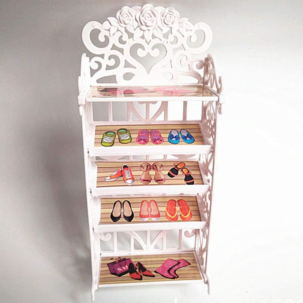 MAJGLGE Girl Toy Doll Accessori plastica scarpiera Armadio mobili Gifts –  Bianco