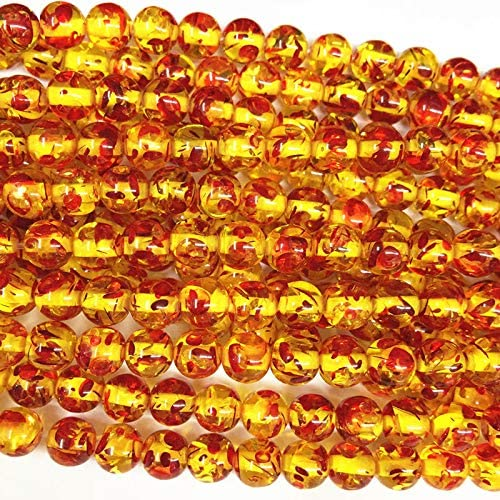 """Amazon.com: Calvas Wholesale Round Bodhi Bead Fire Golden Resin Ambers Prayer Loose Beads Faux Beeswax Acrylic Spacer Plate Jewelry Making 15"""" A210 - (Item Diameter: 10mm): Arts, Crafts & Sewing"""