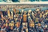 New York Skyline Photo Wallpaper - Sunset Over Manhattan Mural - XXL New York Wall Decoration 55 Inch x 39.4 Inch/ 140 cm x 100 cm