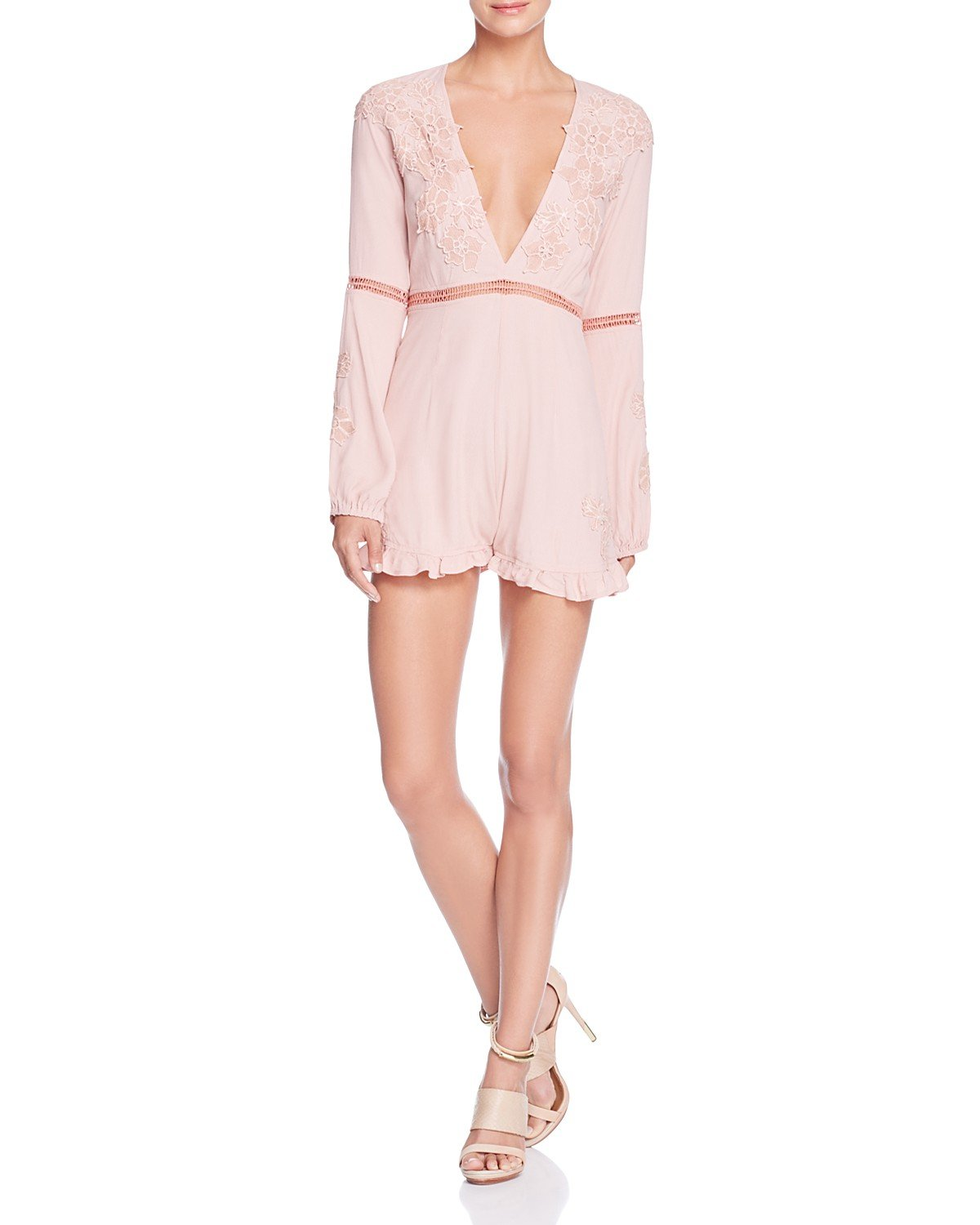 For Love & Lemons Women's Lilou Floral Romper in Dusty Pink Size Small