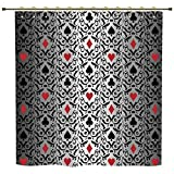 Shower Curtain,Poker Tournament Decorations,Card Symbols Ornament Victorian Floral Swirls Pattern Decorative,Silver Black Red,Polyester Shower Curtains Bathroom Decor Sets with Hooks