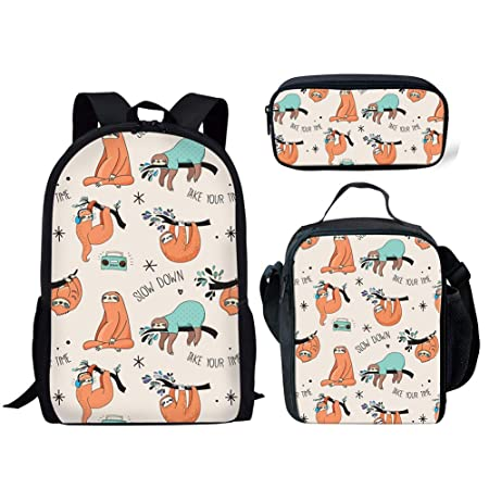 218461c5dbbb FANCOSAN 3 Piece Children School Bag Set Playing Sloth Backpack with Lunch  Box Pencil Case for Small Boys Girls