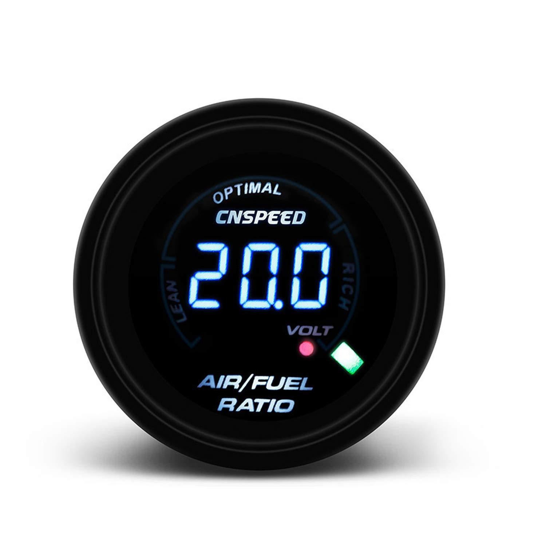 Odometers 252mm LED Digital Car Auto Air Fuel Gauge Ratio 12V Indicatore del misuratore di Carburante for Auto da Corsa Lente affumicata Tinta AFR per Auto Marine Truck EODUDO