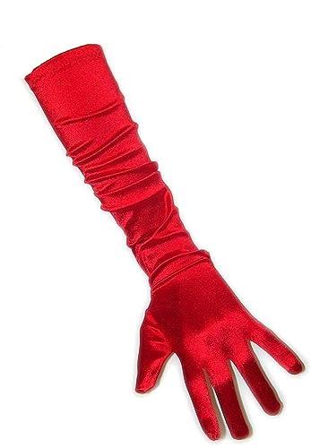 Guantes para mujer elegantes, aprox. 48–52cm de largo, de satén, carnaval, PartyXplosion